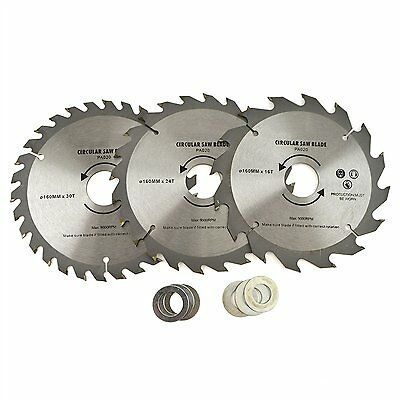 £8.68 • Buy 3pc 160mm TCT Circular Saw Blades 16/24/30 TPI & Adapter Rings Reducer TH020
