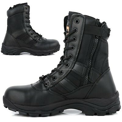 £23.95 • Buy Mens Leather Non Safety Military Combat Police Army Zip Up Work Shoes Boots Size