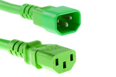 Power Extension Cable IEC C14 Male Plug To IEC C13 Female Socket Green 0.3m • 2.69£