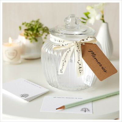 £29.99 • Buy Glass Memory Jar & 50 Remembrance Cards - Funeral Memory Table, Condolence Book