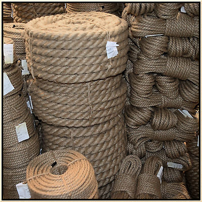100% Natural Jute Hessian Rope Cord Braided Twisted Boating Sash Garden Decking • 4.31£