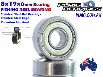AU5.90 • Buy 8x19x6mm Fishing Reel Bearing Stainless Steel Balls / Cage Corrosion Resistant