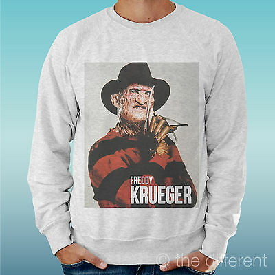 Men's Sweatshirt Light Sweater Light Grey Grey   Freddie Krueger Horror   • 26.99£