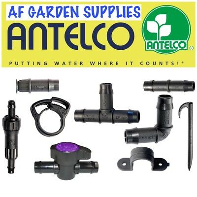 Antelco 13mm Tee,Elbow, End Plug Pipe Fittings Connectors Irrigation Pipe Garden • 1.99£