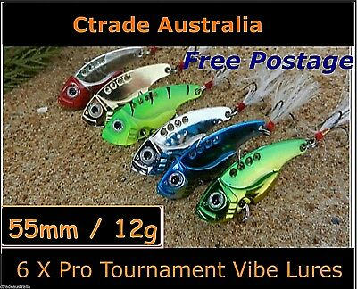 AU12.85 • Buy Vibe Fishing Lures Switch Blade Lure 6 Pack 55mm 12g Pro Vibes Bream Flathead !!