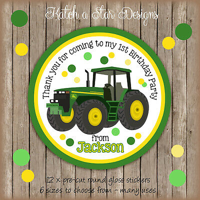AU6.18 • Buy Tractor John Deere Birthday Party Personalised Round Gloss Stickers X12