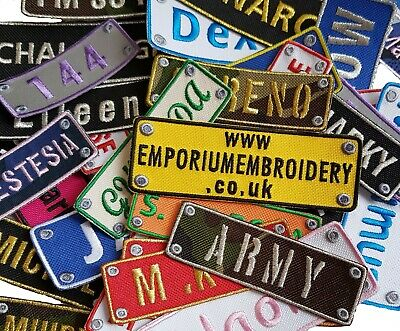 £3.90 • Buy Personalised Name Embroidered Patches Sew Iron On Hook&Loop Badge Biker Applique
