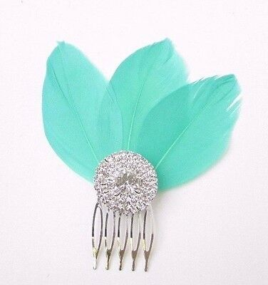 Turquoise Green Feather Fascinator Hair Comb Silver Art Deco Diamante 1920s 2353 • 4.95£