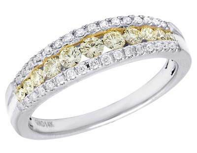 Ladies 14K White Gold Genuine Canary Diamond Channel Set Ring Band .50CT 5MM • 541.93£