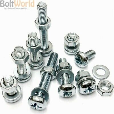 £3.55 • Buy M2.5 Zinc Machine Pozi Pan Head Screws Bolts With Full Nuts & Thick Washers Bw