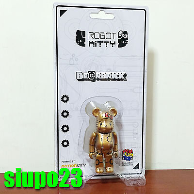 $52.99 • Buy Medicom 100% Bearbrick ~ Action City Hello Kitty Be@rbrick Robot Kitty Gold Ver