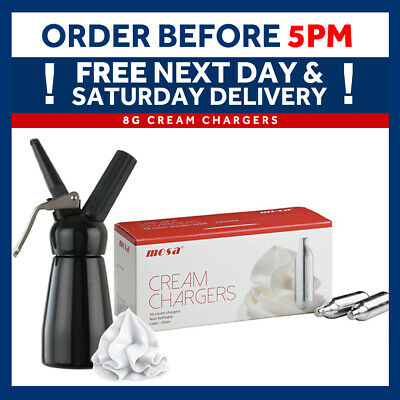 Whipped Cream Chargers Mosa Canisters & Mosa Whippers Option FREE 24HR DELIVERY • 15.95£
