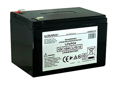 £89.20 • Buy LI12-12 Ultramax 12v 12Ah LiFePO4 Lithium Iron Phosphate Battery And Charger