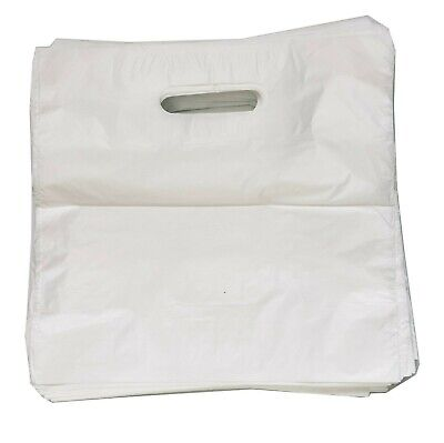 50 Large White Patch Handle Carrier Gift Retail Shopping Plastic Bags 22 X18 X3  • 4.20£