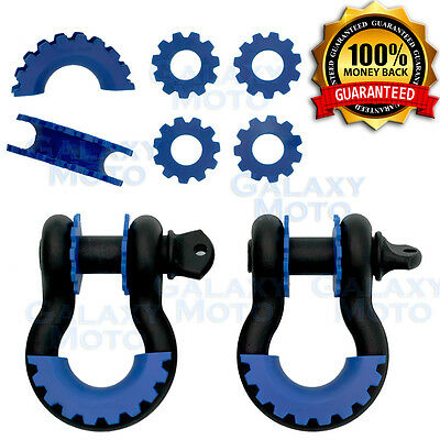 $29.95 • Buy 1 Pair 3/4  Black 4.75 Ton D-Ring Shackle+Blue Isolator Washers Silencer Clevis