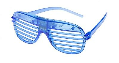 2 Blue Flashing LED Shutter Glasses Light Up Rave Slotted Party Glow Shades UK • 6.99£