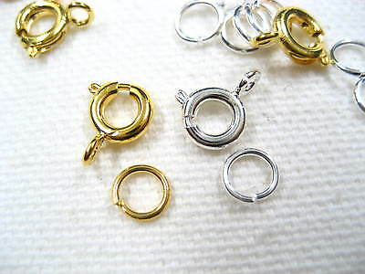 20pc 100pc Necklace Bracelet Round Clasps Fastener Clasp Hooks Gold Jump Rings • 3.99£