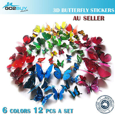 AU3.61 • Buy 12PCS 3D Butterfly Wall Removable Sticker Decals Kids Art Nursery Decor Magnets