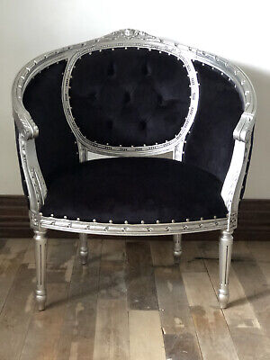 Large Silver Leaf Black French Ornate Statement Throne Tub Arm Chair Loveseat • 399£
