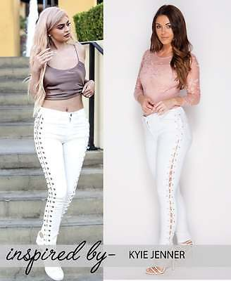 Women's White Lace Up Kylie Jenner Skinny Jeans Size (6-14) • 20.99£