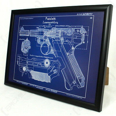 German Luger P08 Pistol Framed Blueprint - Print Picture WW2 Rifle Gun Army New • 24.95£