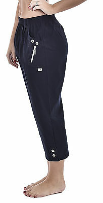 Women Ladies Elasticated Cotton Stretch Capri Cropped 3/4 Trousers Size 10-24 • 13.99£
