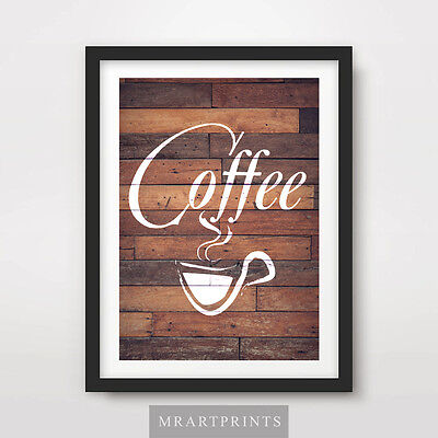 £11.99 • Buy CAFE COFFEE SIGN Art Print Poster Home Decor Kitchen Food Drink Wooden Picture