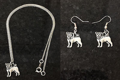 £3.25 • Buy Pug Dog Earrings Necklace Silver Plated Gift