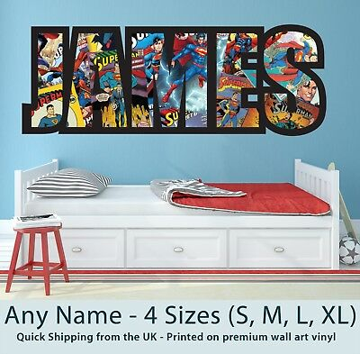 Childrens Name Wall Stickers Art Personalised Superman Comics For Boys Bedroom • 12.99£