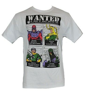 Marvel Comics Mens T-Shirt - Wanted By Director Fury Loki Lizard Magneto Doc Ock • 10.71£