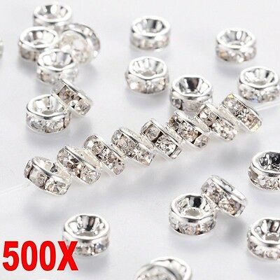 500PCS Silver Austira Clear Crystal Rhinestone Rondelle Spacer Beads DIY 8mm • 1.69£