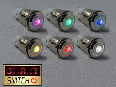 £3.99 • Buy SmartSwitch 12V/24V 3A CHROME Metal Latching ON/OFF DOT LED Button Switch