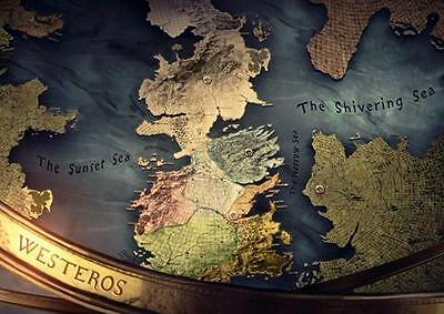 £8.99 • Buy GAME OF THRONES WESTEROS & ESSOS MAP POSTER Wall Art Print Photo A3 A4