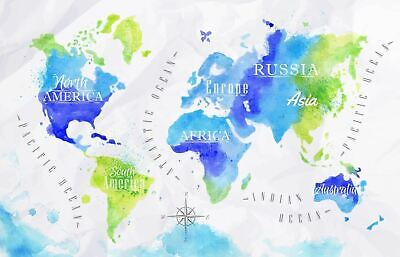 AU42.90 • Buy Watercolour World Map Painting High Quality Wall  Art Poster Choose Your Size