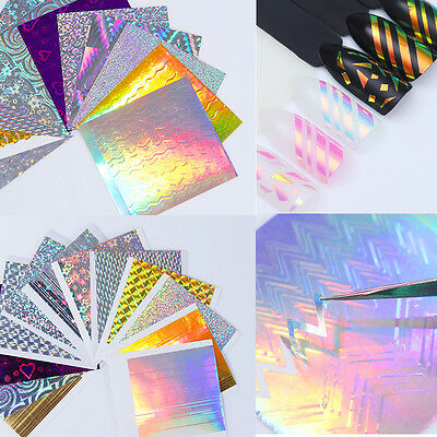 BORN PRETTY Holo Laser 3D Nail Sticker Adhesive Ultra Thin Line Nail Foils Decal • 0.99£