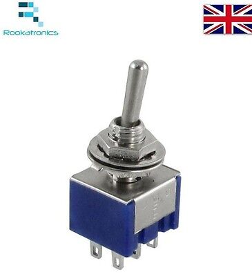 Mini Latching Toggle Switch DPDT ON-OFF-ON AC 3A/250V 6A/125V 6 Pin New Quality  • 1.49£