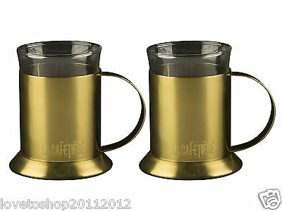 La Cafetiere 2 Set Gold Glass Latte Glasses Cappuccino Coffee Mugs Double Walled • 19.99£