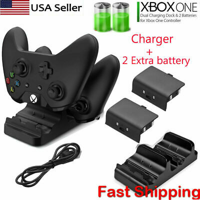 For Xbox One S X Dual Controller Dock Charger Station + 2 Rechargeable Battery   • 10.90$