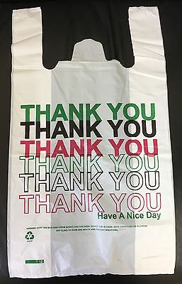 160 White Large Thank You Plastic Vest Carrier Bags 11 X17 19  Strong 22micron • 12.05£