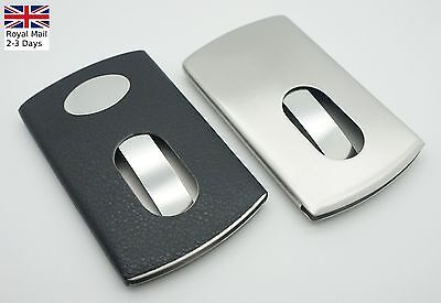 Smart Thumb Slide Stainless Steel Portable Name Business Credit Card Holder Case • 4.09£
