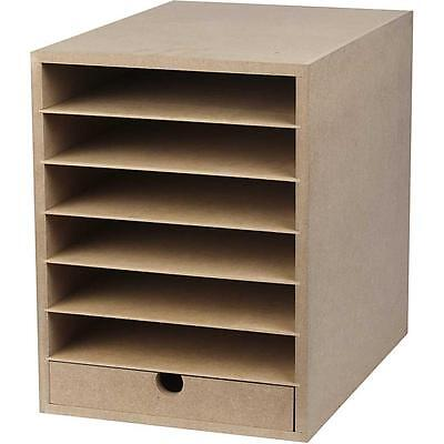 A4 Paper Card Storage Filing Cabinet MDF Wood Wooden Strong 6 Shelves 1 Drawer • 35.99£