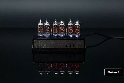IN-14 NIXIE TUBE CLOCK ASSEMBLED WOOD ENCLOSURE AND ADAPTER 6-tubes By MILLCLOCK • 170.58£
