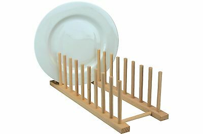 Wooden Dish Stand Plate Rack 39x14cm Kitchen 10 Plate Dry Sink Drainer Holder • 8.49£