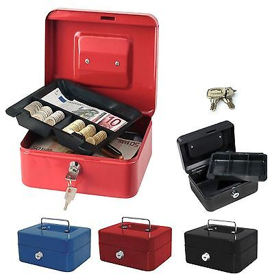 £7.65 • Buy Steel Metal Petty Cash Box With Coin Tray Money Bank Safe Security Deposit Keys