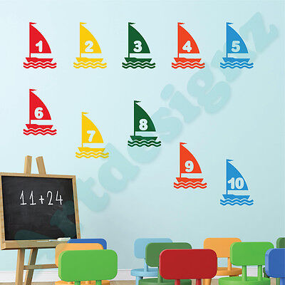 SAIL BOATS Numbers 1-10 Wall Sticker Girls Boys Bedroom Nursery Vinyl Art Decal • 6.99£