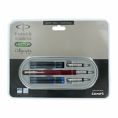 £11.11 • Buy Parker Vector Calligraphy Standard CT Fountain Pen Red Body Free Ink Cartridge
