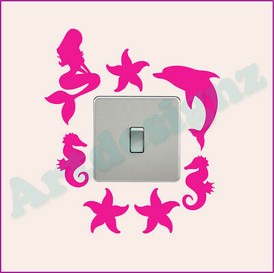 MERMAID Light Switch Sticker Surround Girls Bedroom Dolphin Vinyl Wall Art Decal • 2.85£