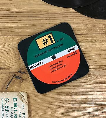 Personalised Custom Vinyl Record Number One Dad Drinks Coaster Mat Birthday Gift • 4.90£