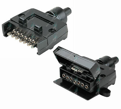 AU14.95 • Buy 7 Pin Flat Male Plug & Female Socket Set Trailer Adaptor Connector ADR Approved