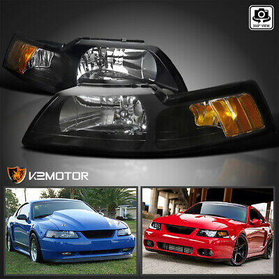$68.38 • Buy For 1999-2004 Ford Mustang V6 GT SVT Cobra Black Headlights Left+Right